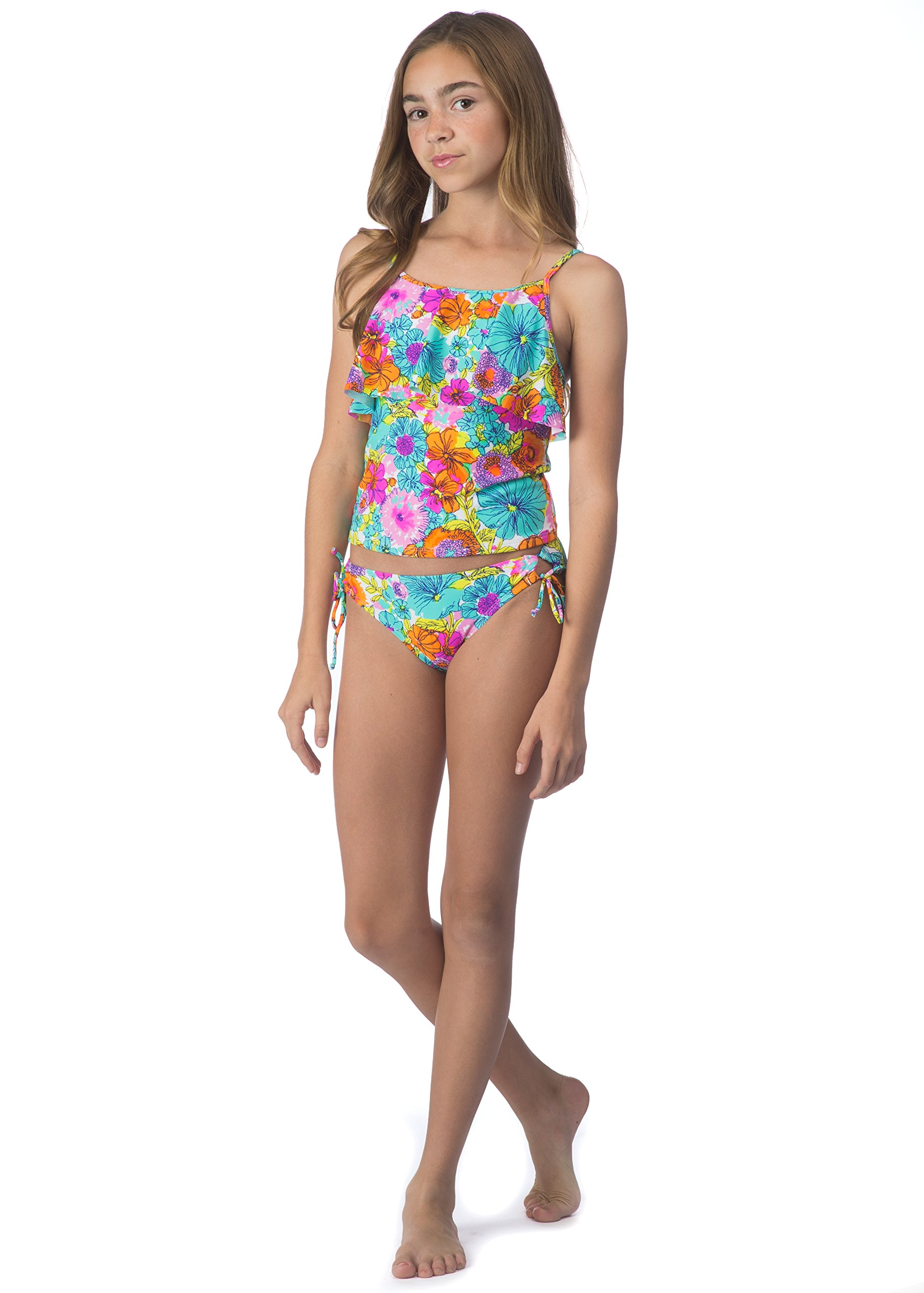 Hobie Big Girls' Fleur to Love Two Piece Tankini Adjustable Hipster Swimsuit, Multi, 10