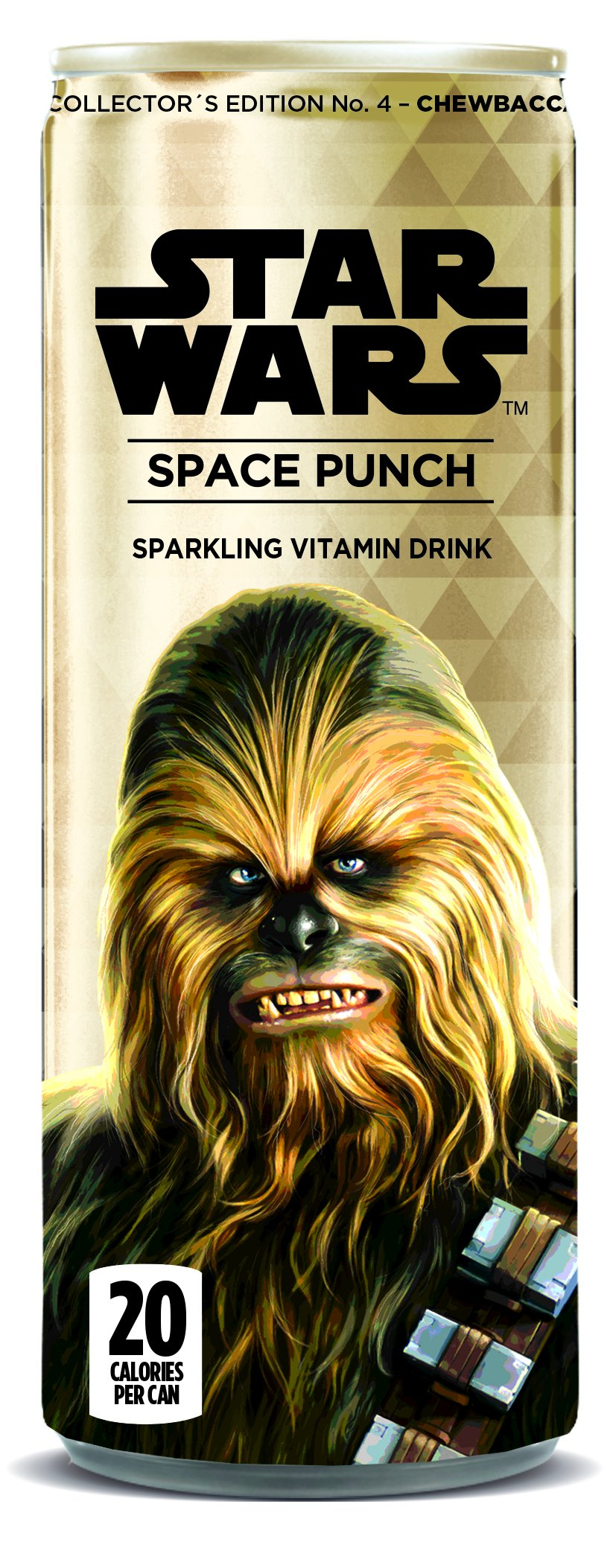 Star Wars Space Punch Sparkling Vitamin Drink, Collectors Edition No.4-Chewbacca, 12 Oz. Cans (Pack of 12)
