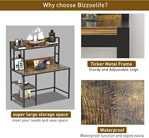 Amazon Com Bizzoelife Computer Desk With Hutch And 2 Tier Bookshelf 47 Inches Modern Writing Study Desk With Storage Shelf For Small Space Pc Laptop Table Workstation For Home Office To Saving Space Rustic Kitchen