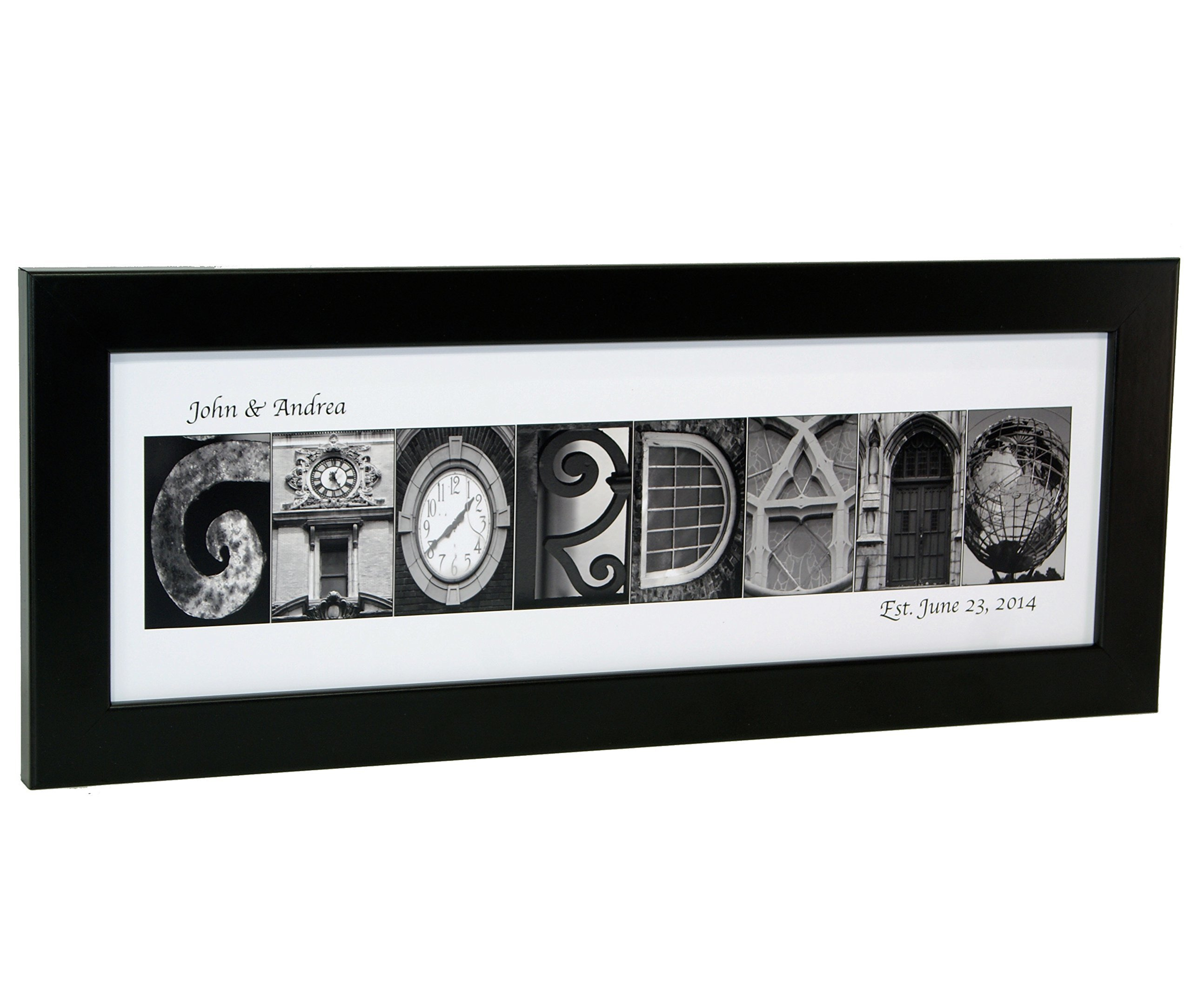 Personalized Name in Black and White Architecture From Original Alphabet Photograph Letters for Personalized Gift, Anniversary, Baby Name (Black Frame) by Creative Letter Art