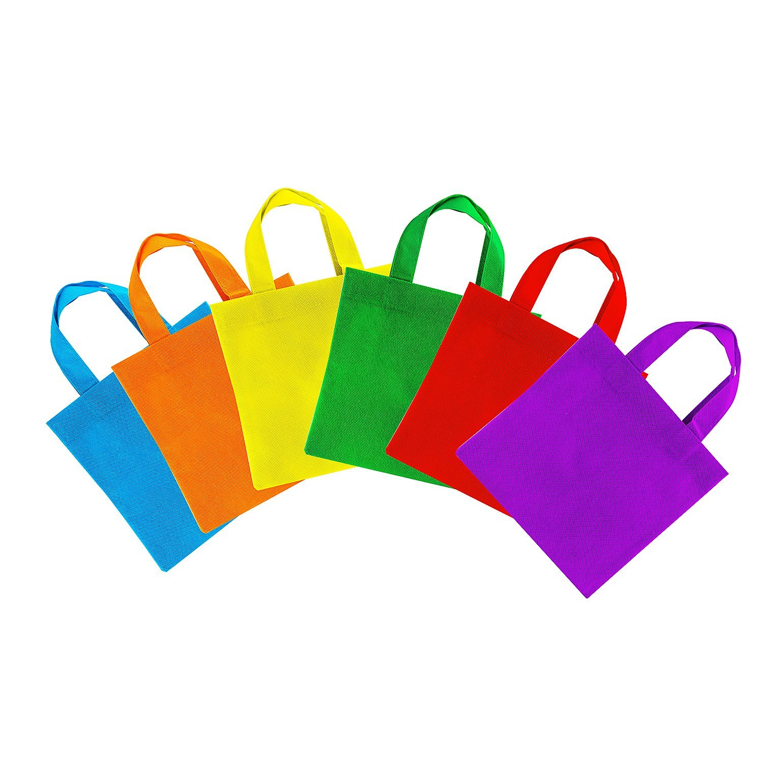 "Assorted Colorful Solid Blank Canvas Party Gift Tote Bags Rainbow Colors with Handles for Birthday Favors, Snacks, Decoration, Arts & Crafts, Event Supplies (12 Bags) by Super Z Outlet (8"" Inches)"