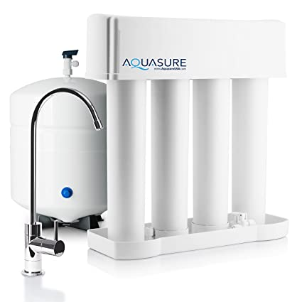 1db849d8151e Aquasure Premier Advanced 75 GPD Reverse Osmosis Water Filtration System  with Quick Change Water Filter (Chrome Finished Designer Faucet) - -  Amazon.com
