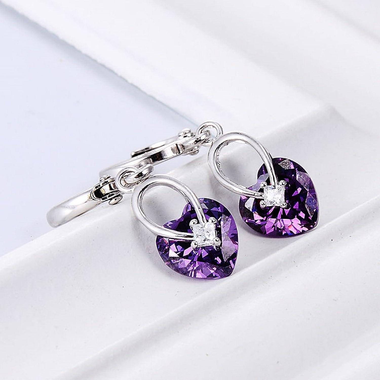 Firewings Sliver Plated Purple Crystal Dangle Earrings