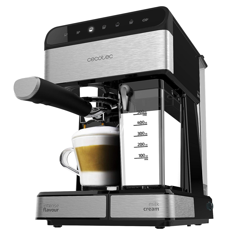 Cecotec Power Instant-ccino Touch Serie Nera Cafetera Semiautomática, Tanque de Leche, Panel Control Táctil, 20 Bares Presión, Thermoblock 1350 W, 1.4 litros, Acero Inoxidable, Negra