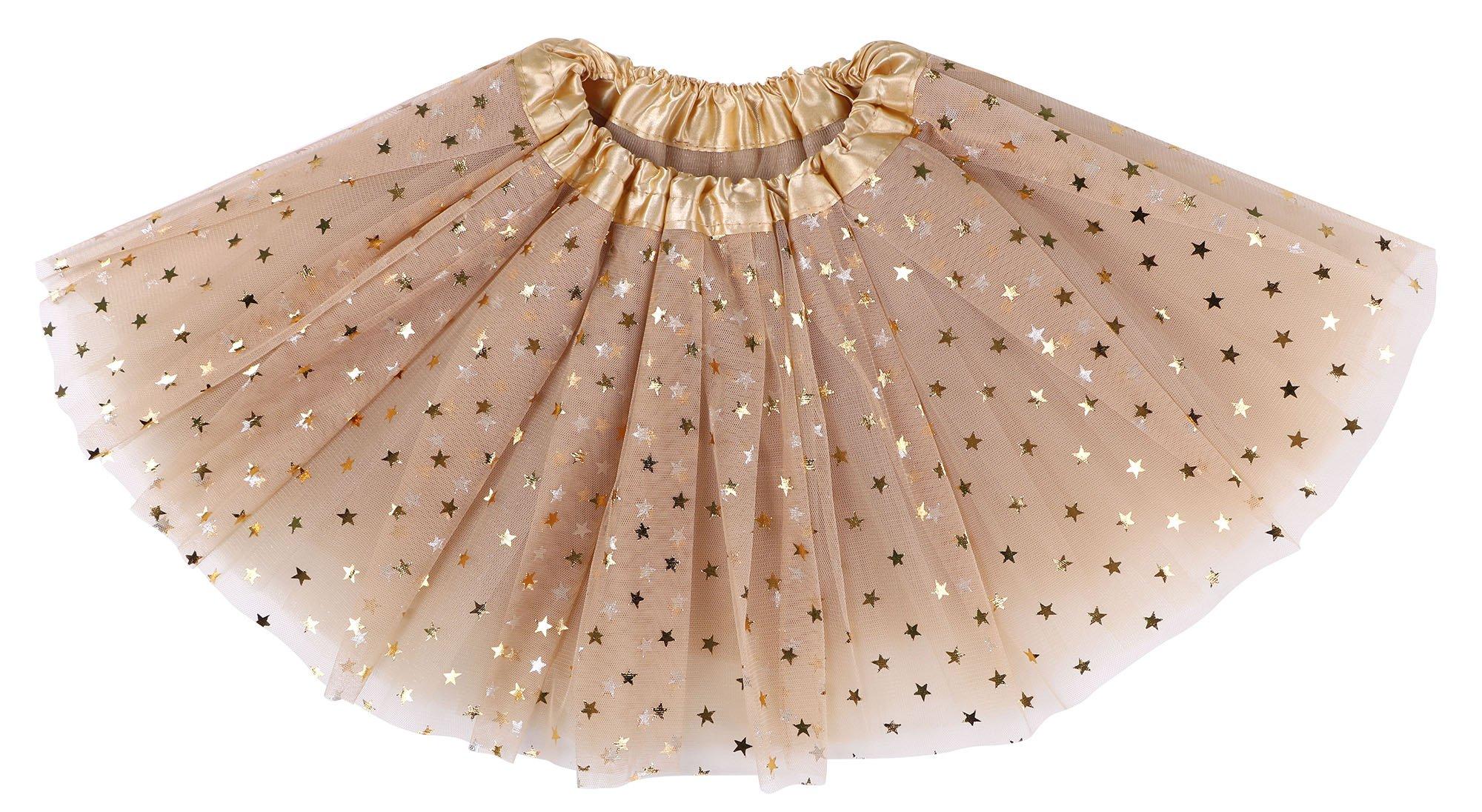 Simplicity Girls Tutu 4 Layered Tulle Dress-up Princess Fairy Tutu Skirt,Golden