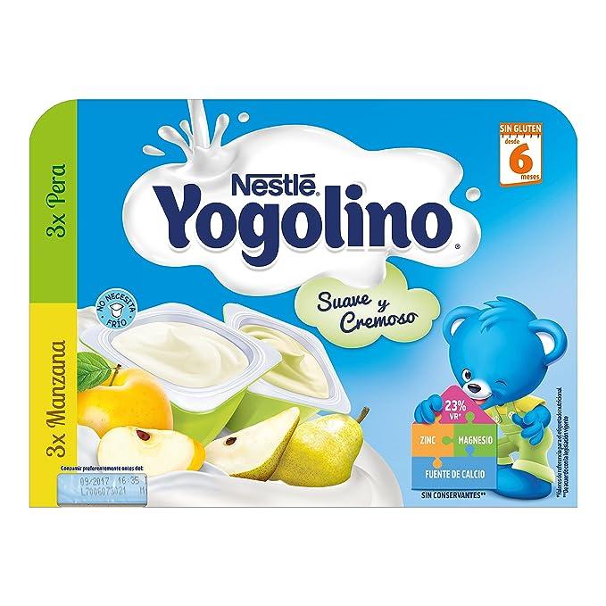 Nestlé Yogolino Postre lácteo Suave y Cremoso, 3 tarrinas de Pera y 3 tarrinas de