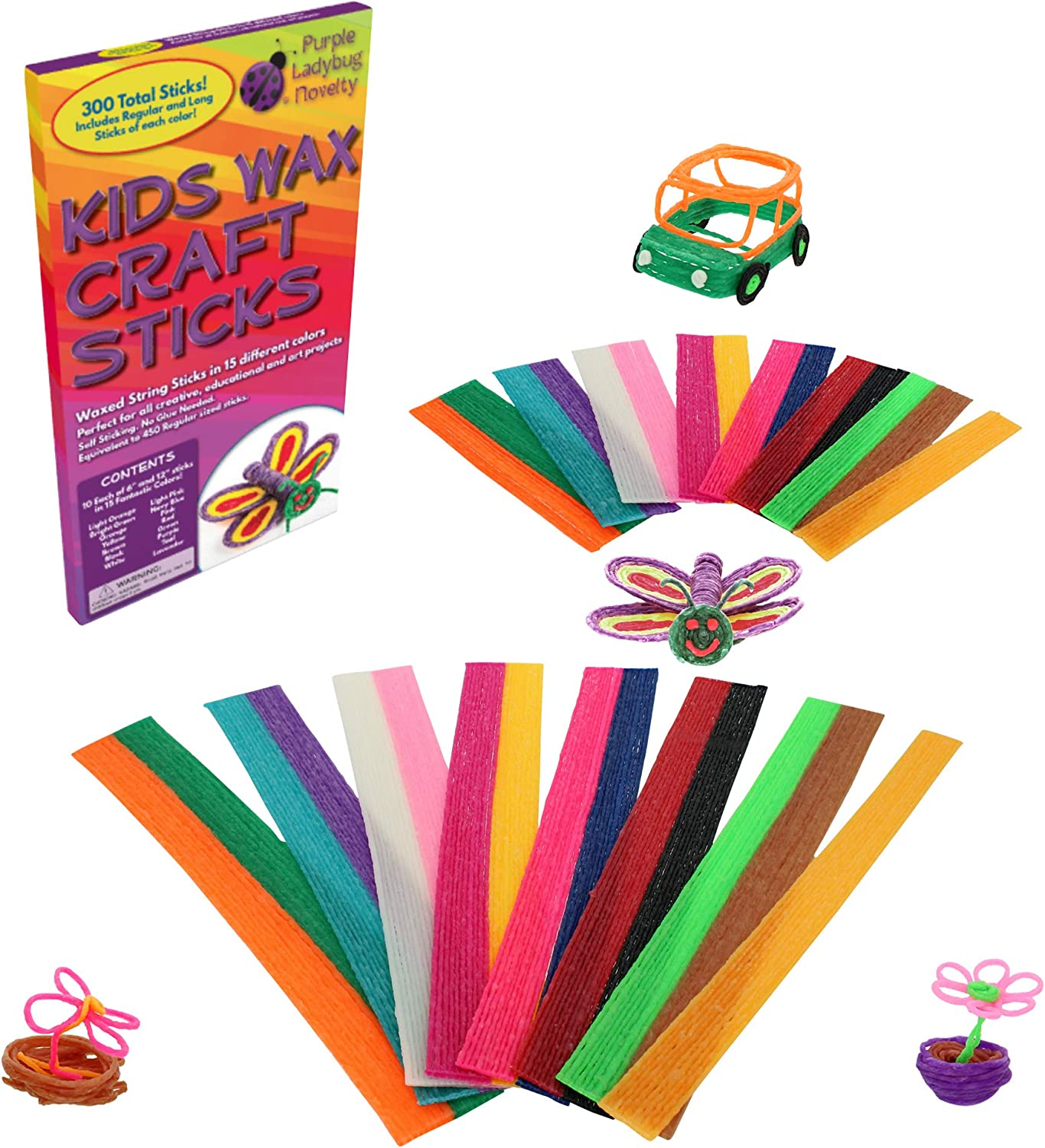 Mega Mix Pack of Kids Wax Craft Sticks: 15 Colors, 2 Lengths - 6 Inch Standard and 12 Inch Super Long, 150 of Each! Non-Toxic Wax Stix, Kid Art Supplies with no Mess, Great as Travel Toys!