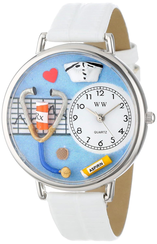 Whimsical Watches WHIMS-U0620013 - Reloj analógico de Cuarzo Unisex con Correa de Piel, Color Blanco