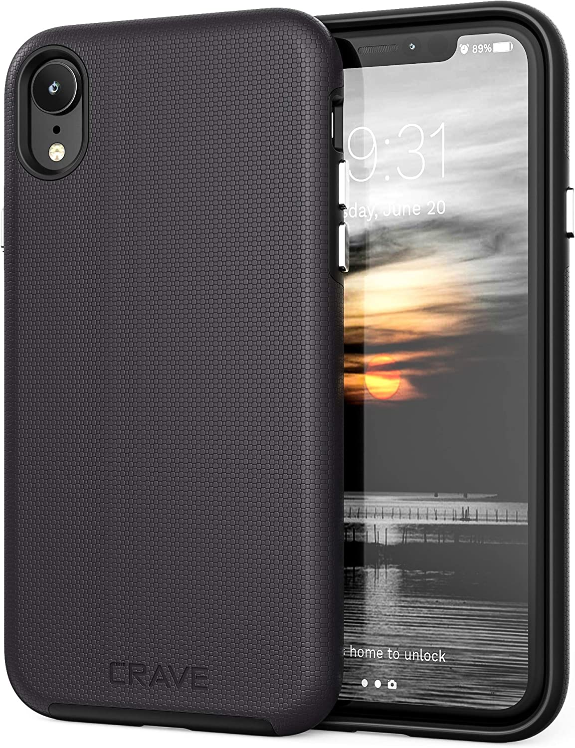Crave iPhone XR Case, Dual Guard Protection Series Case for Apple iPhone XR (6.1 inch) - Black
