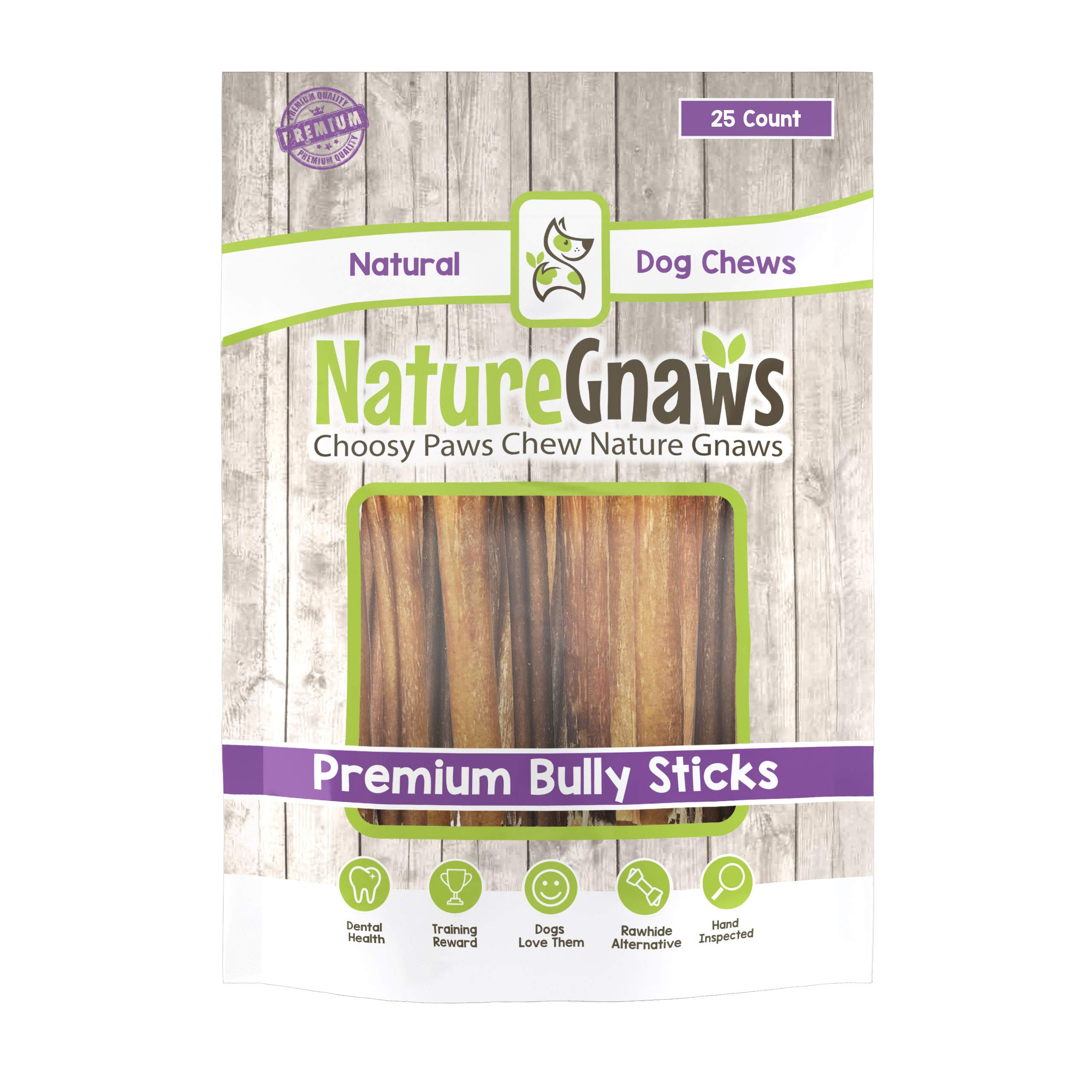 Nature Gnaws Small Bully Sticks (25 Count) - 100% Natural Beef Dog Chews by Nature Gnaws