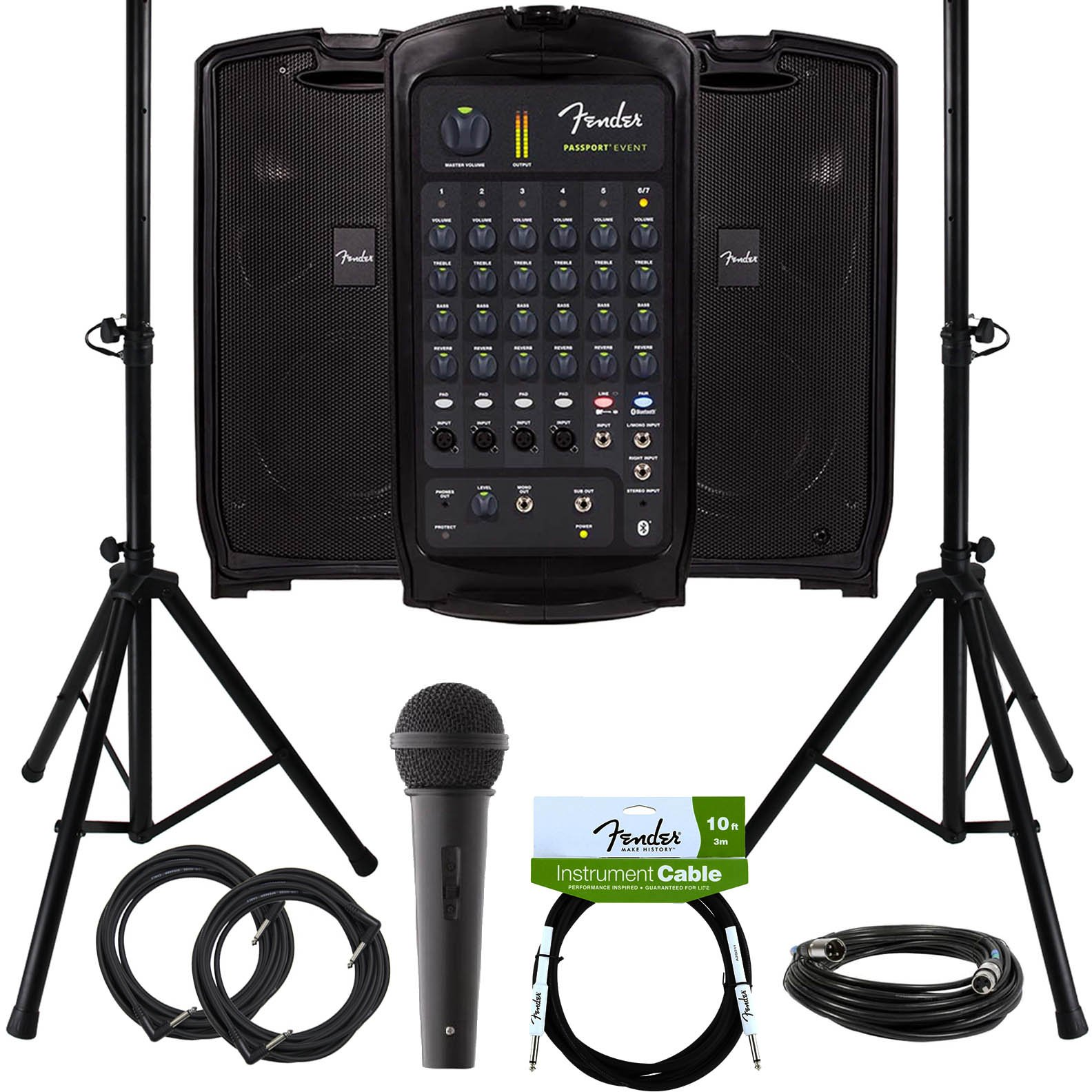 Fender Passport Event Portable PA System Bundle with Microphone, Compact Speaker Stands, XLR Cable, and Instrument Cable
