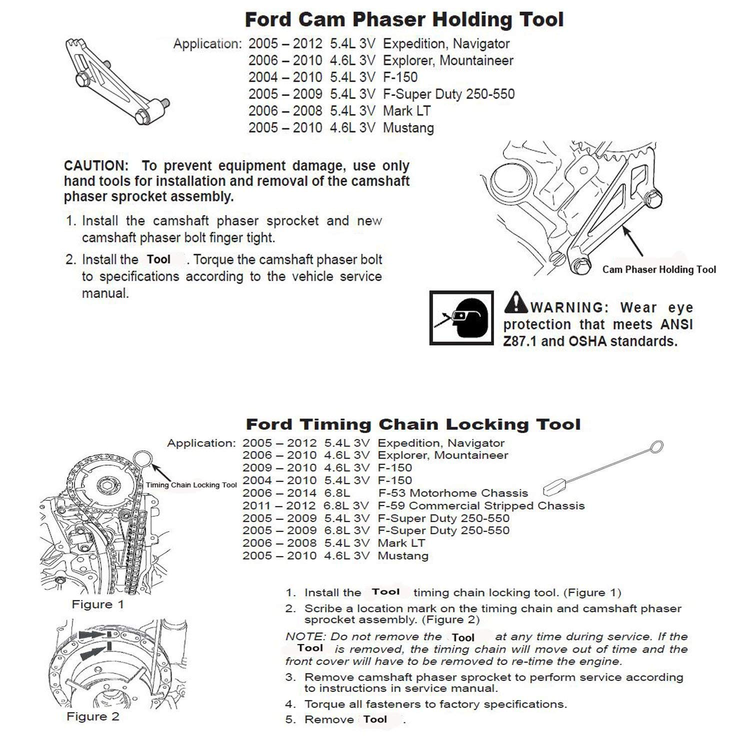 Timing Chain Locking Tool for Ford 4.6L/5.4L 3V Engine ...