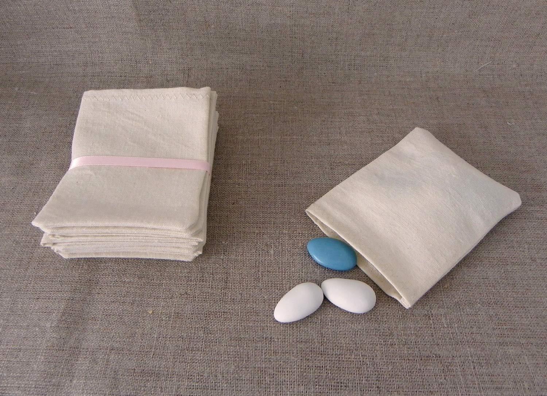 pochon petit sac sachet à dragées en tissu coton lin métis écru naturel recyclé ancien 7,5 x 10 cm SANS RUBAN cadeau invité à customiser à décorer pour baptême mariage communion LOT DE 10