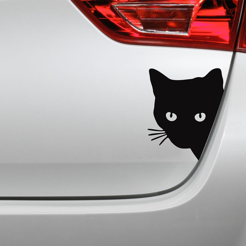 Folistick Katzenkopf Aufkleber Katze Autoaufkleber Schwarzmatt Auto