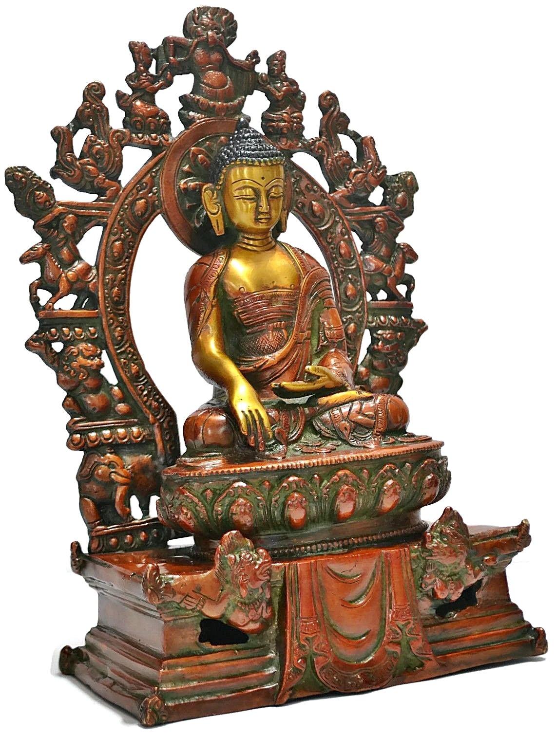 Shrine Statue Buddha,brass Metal Tibetan Bhumisparsha Meditating Old Buddhist Shakyamuni, Gilt Carved Antique Finish by CraftVatika