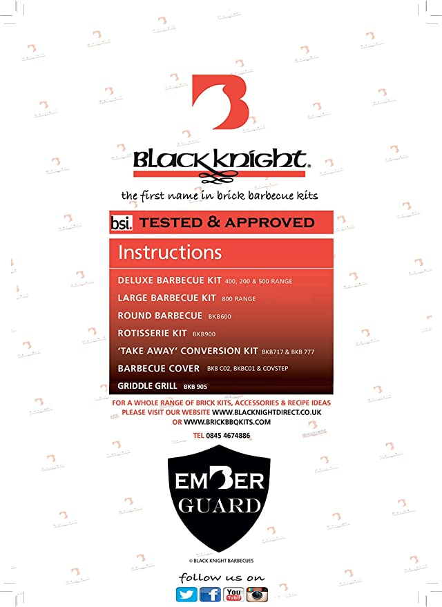 5 brick wide BKB C02 HEAVY DUTY COVER BY BLACK KNIGHT BRICK BBQ BARBECUE KIT