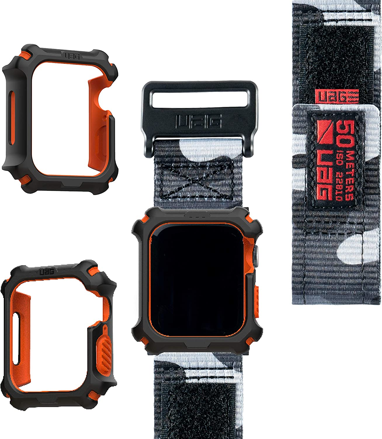 UAG Apple Watch Band 44mm 42mm, iWatch Series 6/5/4/Watch SE Replacement Strap, Active Midnight Camo + Apple Watch Case 44mm, iWatch Series 6/5/4/Watch SE Protective Bumper Case, Black/Orange