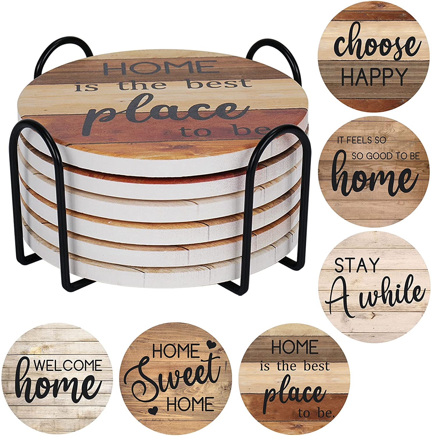 Coasters for Drinks Rustic Farmhouse Stone Cork Coasters, Set of 6 Drink Coaster with Holder for Wooden Table Housewarming Gift New Home Apartment Kitchen House Decor Gift Set for Women Men