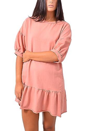 Vestito Cotone Felpa Balza Sera Abbigliamento Moda Donna
