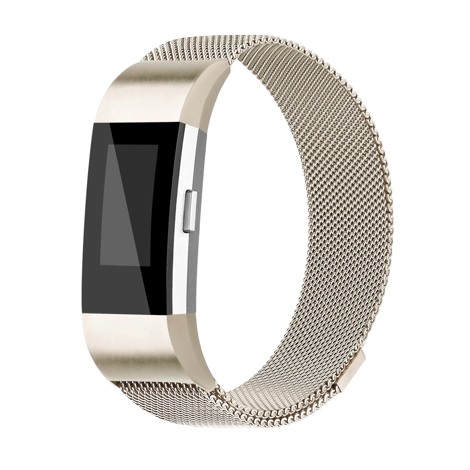 iGK Replacement Bands Compatible for Fitbit Charge 2, Stainless Steel Metal Bracelet with Unique Magnet Clasp Champagne Small