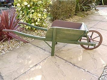 Washed Antique Green Wood U0026 Metal Garden Wheelbarrow ~ Planter Or Ornamental