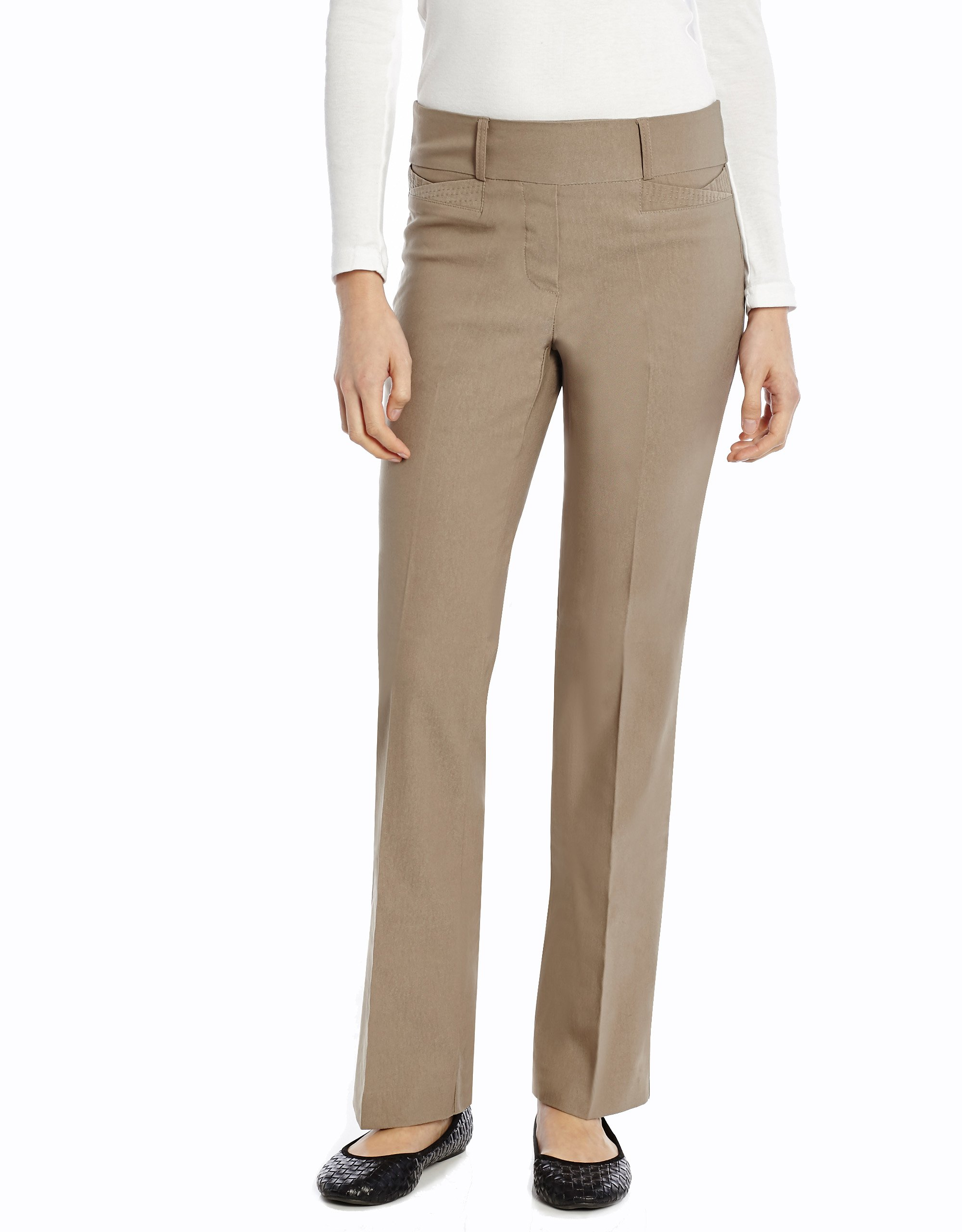 Leveret Women Boot Cut Pants (6, Oatmeal)
