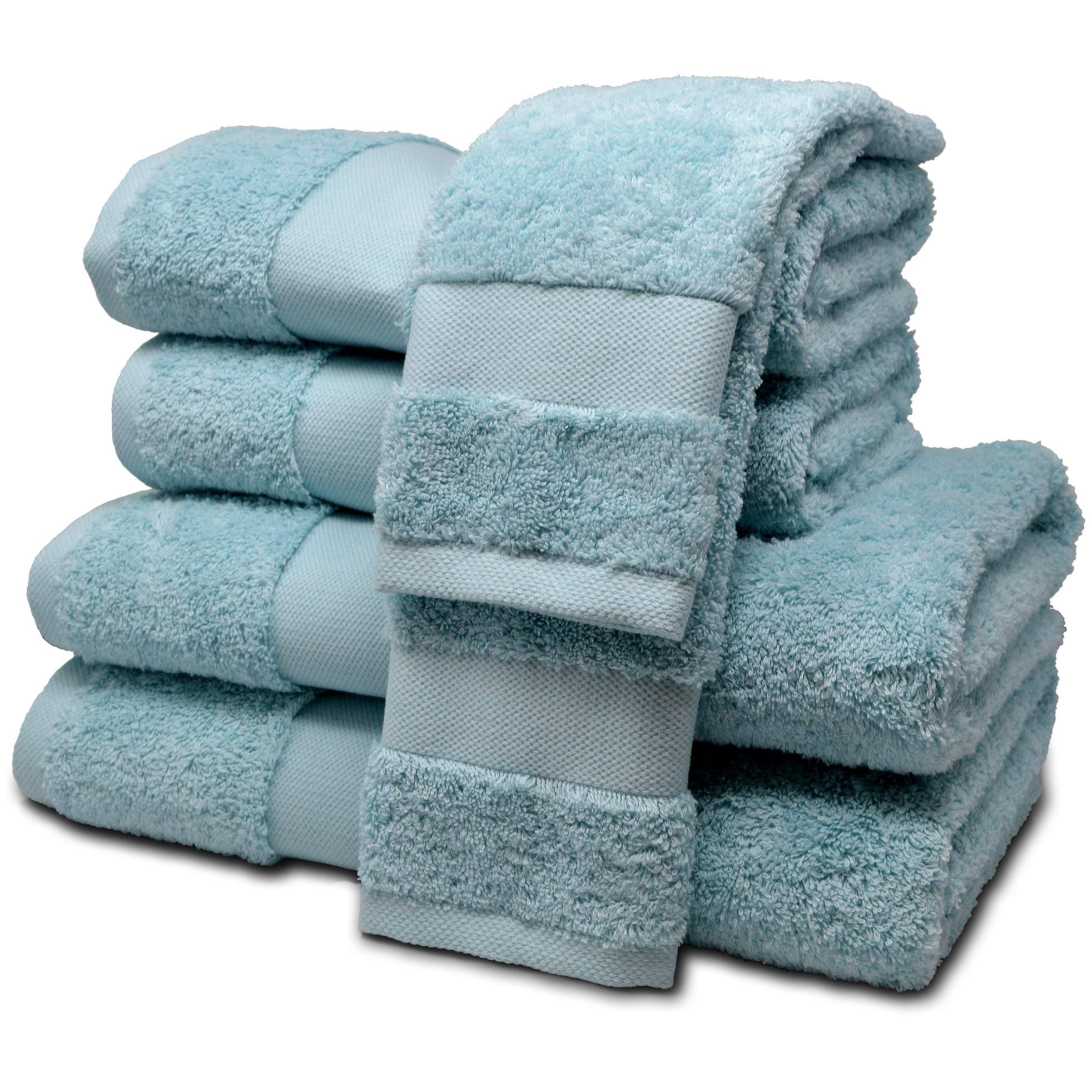 ELK ROSÉ 6 Piece Extremely Soft & Fluffy 100% Egyptian ''Giza'' Cotton Towel Set for Hotels, Spas & Home - 2 Oversized Bath Towels, 2 Hand Towels, 2 Washcloths (Aqua)