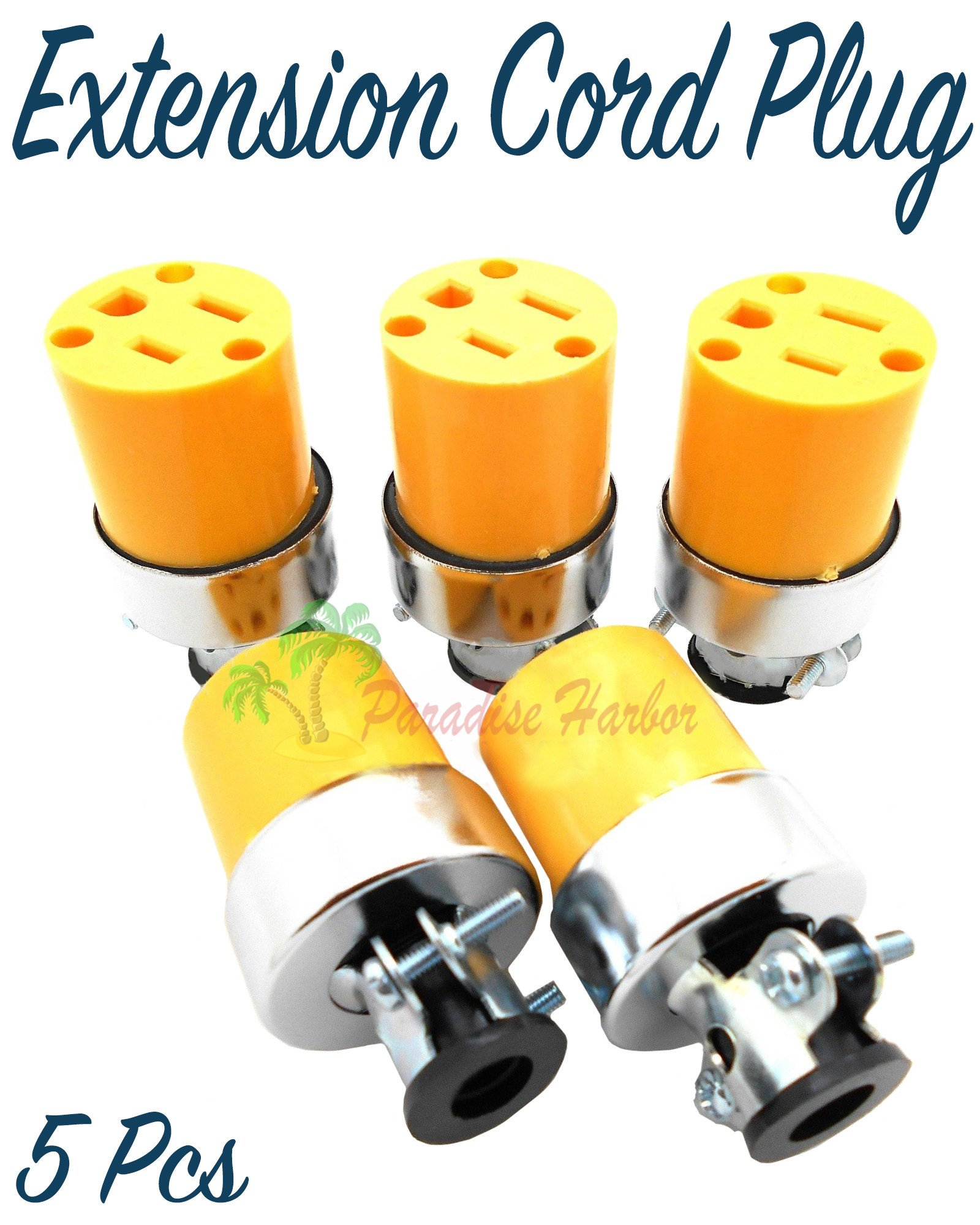 Paradise Harbor 5 Pieces Female Plug Replacement Female Extension Cord Replacement End Electrical Wire Repair Replacement Plug End Set