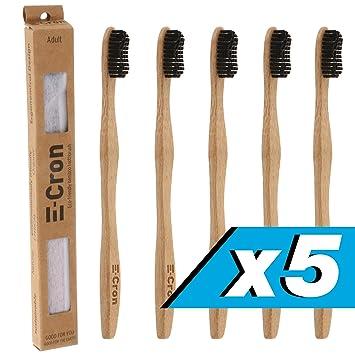 5 x Cepillo de dientes de bambú E-Cron con un mango respetuoso con el