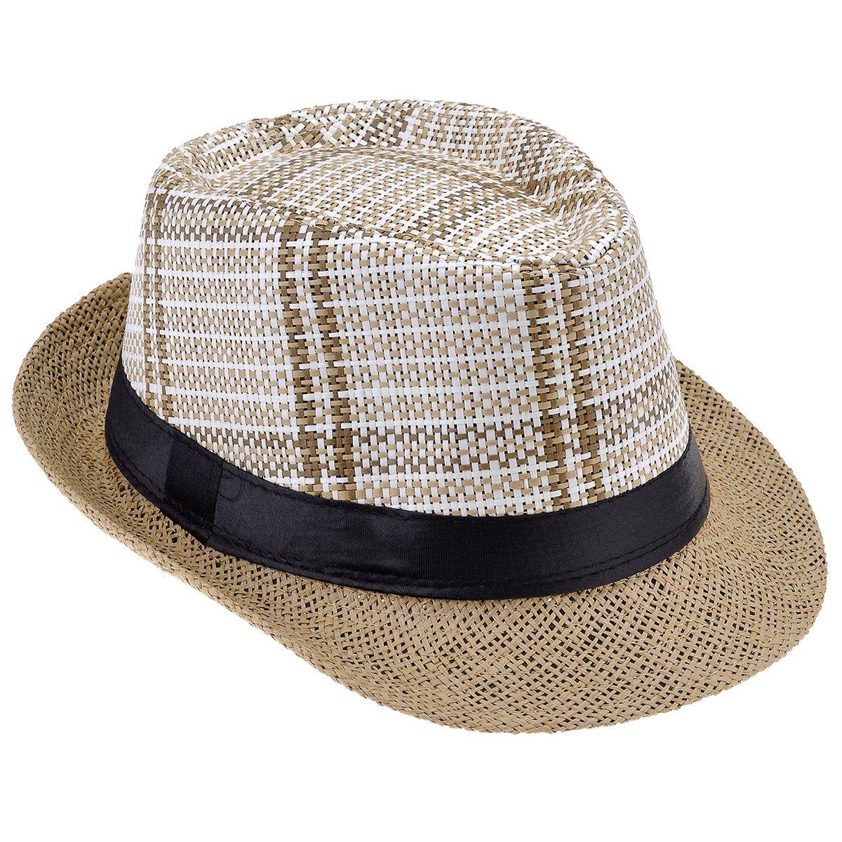 Faleto Chapeau de Paille pour Homme Femme Unisex Chapeau d\'été Tricoté à la Main Style Jazz Classique et Loisir Chapeau Panama pour Vacance en Plage Jazz Hut