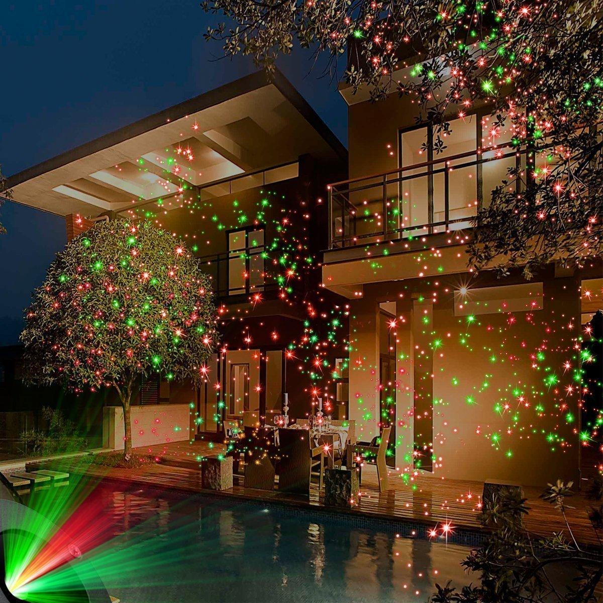 Chomo spotlights projecteur exterieur lumières ciel etoile vert et rouge avec télécommande lampe décoration de plein