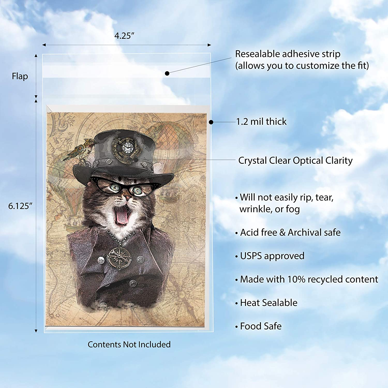 card 5.4 x 7.5 Clear Resealable Cellophane Cello Poly Bag Fits Envelope 50 A7