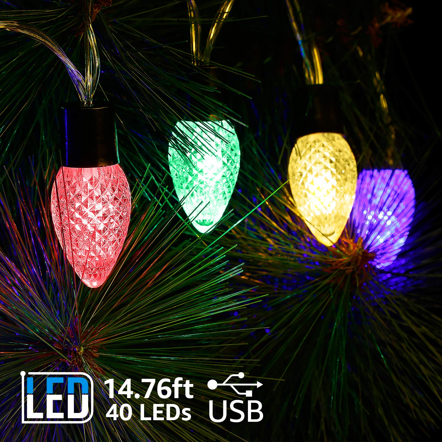 TORCHSTAR 14.76ft LED Strawberry String Lights, 40 C7 Bulbs, USB Supplied, Multi-Color Lighting for Halloween, Christmas, New Year, Party, Holiday Celebration, Wedding Decoration