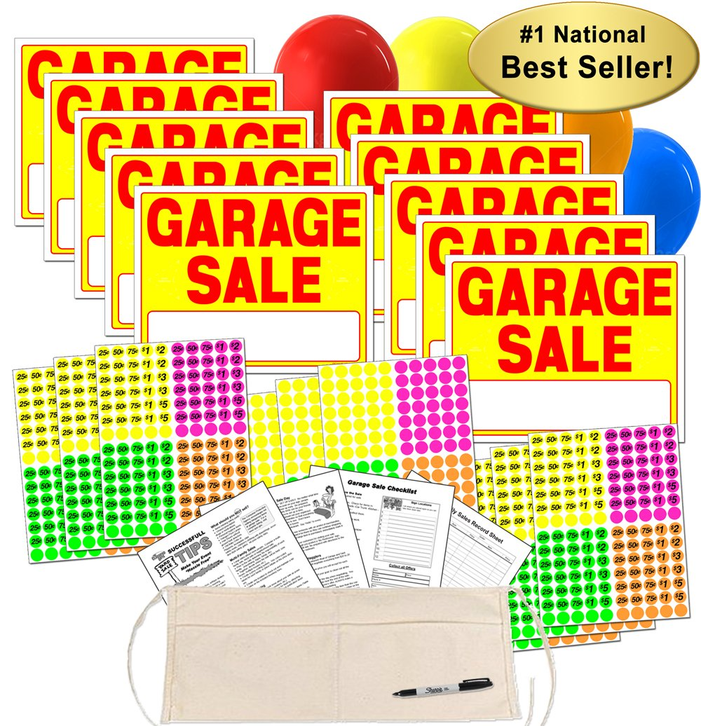 Garage Sale Sign Kit with Pricing Labels and Change Apron (A504G) by Garage Sale Pup