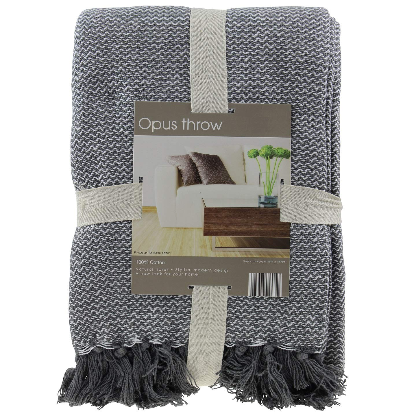 Opus Throw Grey and White Chevron 127cm x 152cm 100/% Cotton cover
