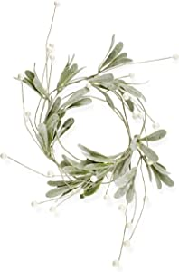 AuldHome Snowy Lamb's Ear Garland (4-Foot); Pearl and Berry Farmhouse Christmas Decor Candle Ring or Wreath Accent