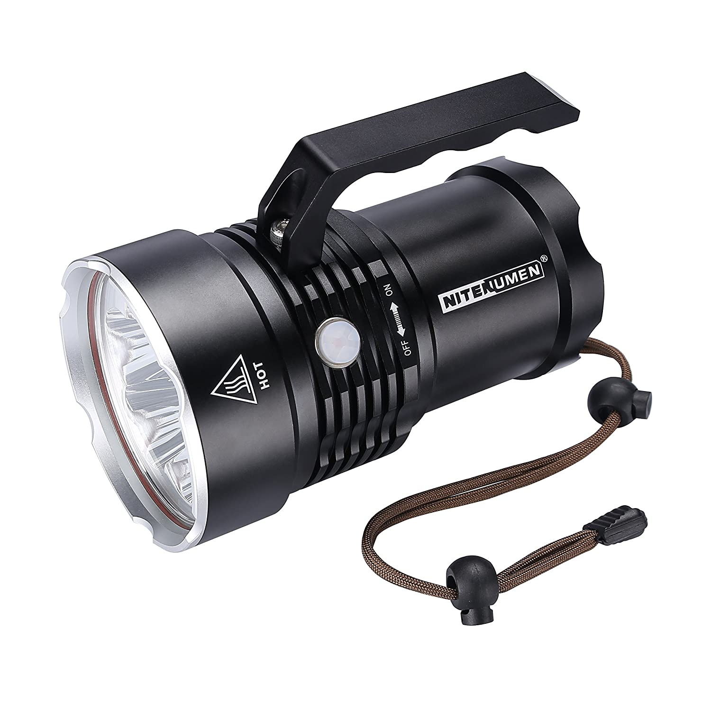 Nitenumen RT6 Wiederaufladbare 6 x Cree XM-L L2 LED 4800 Lumen Super Heller LED Scheinwerfer Taschenlampe Suchscheinwerfer,Batterie Konfiguration: 4 x 3,7V USB aufladbaren 3400mAh 18650 Lithium-Akku