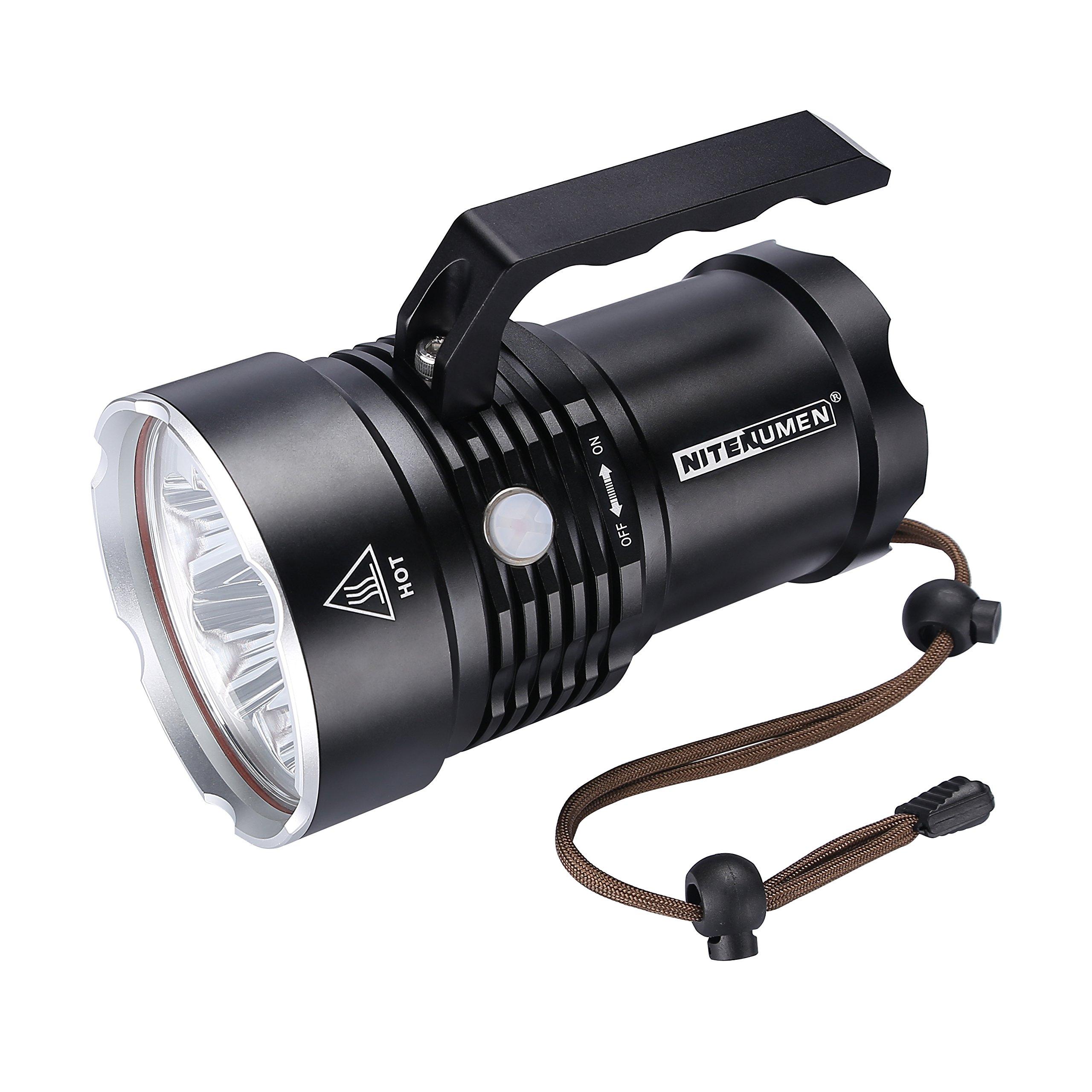 Nitenumen RT6 Powerful Flashlight Spotlight Waterproof Searchlight 6 x Cree XM-L L2 LED 4800 Lumens Spotlight Torch Aluminum Alloy Flashlight,USB Rechargeable 4 x 18650 3400 mAh battery/Lanyard
