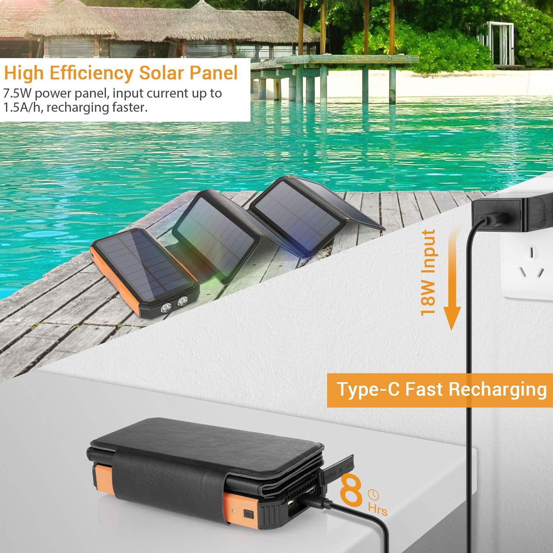 Sendowtek Solar Powerbank 26800mah Mit 5 Solarpenals Elektronik