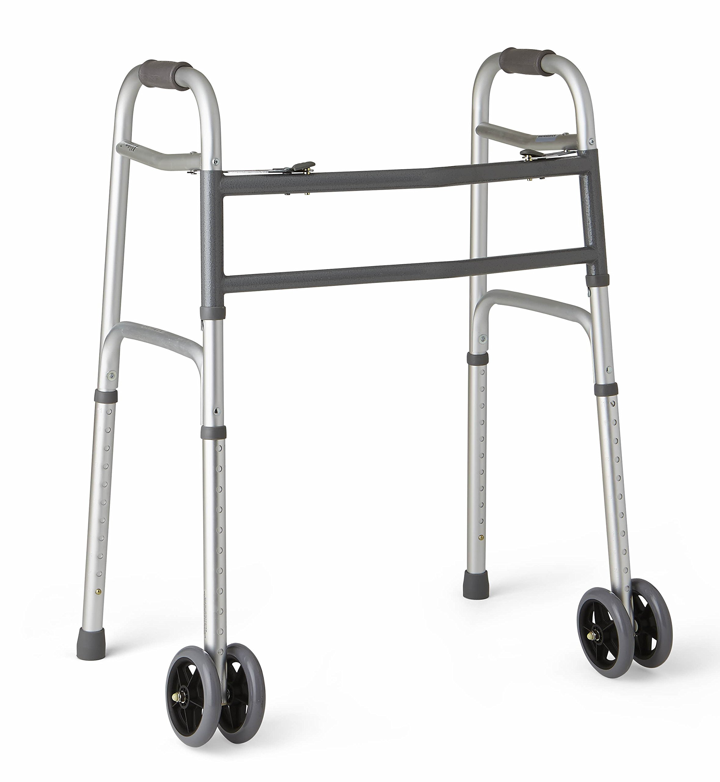 Medline Heavy Duty Bariatric Folding Walker with 5'' Wheels with Durable Plastic Handles by Medline