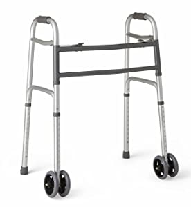 """Medline Heavy Duty Bariatric Folding Walker with 5"""" Wheels with Durable Plastic Handles"""