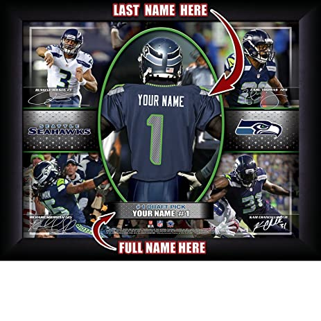 Amazon.com: Seattle Seahawks Personalized NFL Football Number One ...