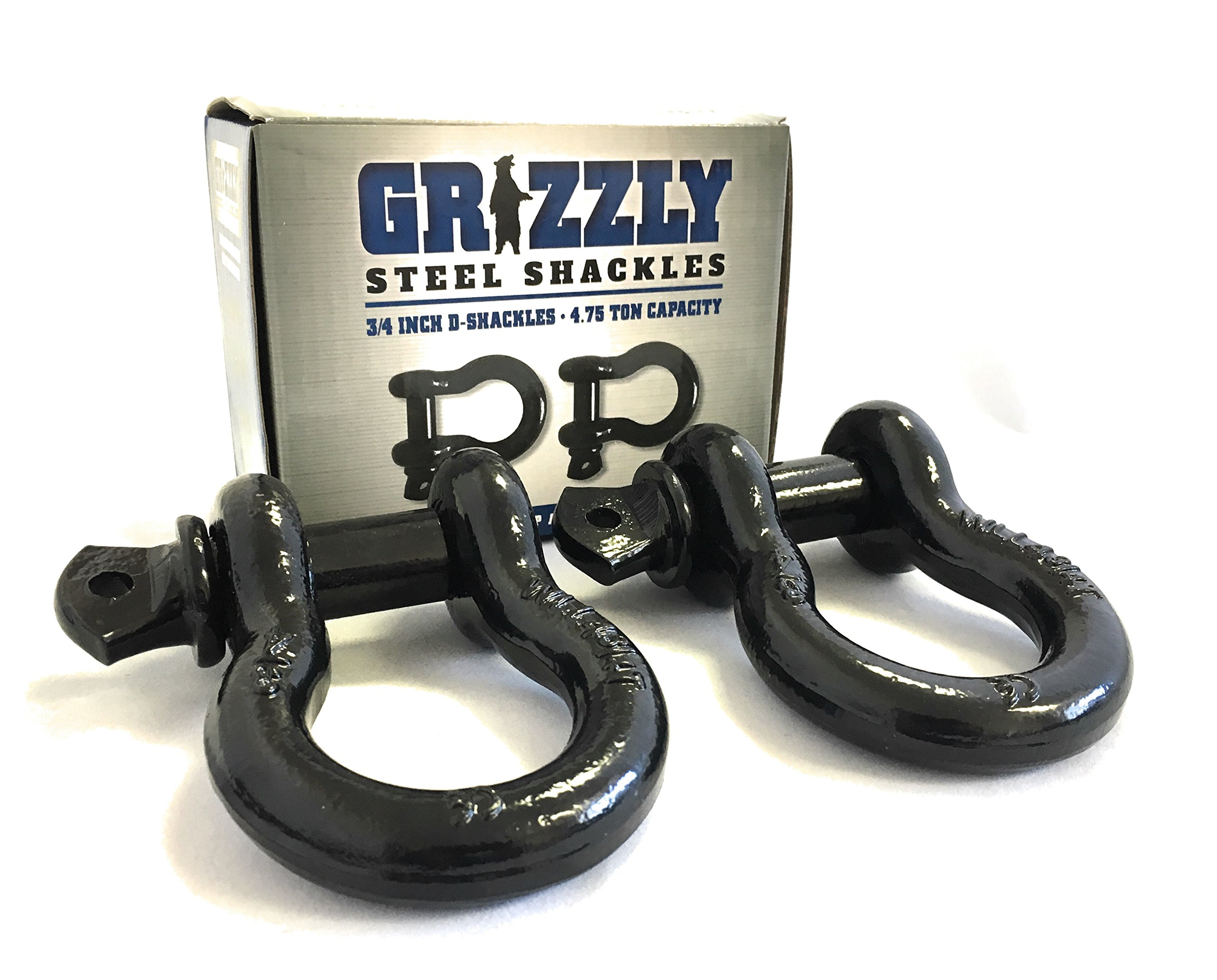 D Ring Shackles, 3/4 Inch, Black, 2 Pack – Heavy Duty Forged Steel with 4.75 Ton Capacity – Ideal for Jeeps, ATV's, Trucks to use with Recovery,Towing, Snatch Straps,Snatch Block,Tree Savers by Grizzly (Image #2)