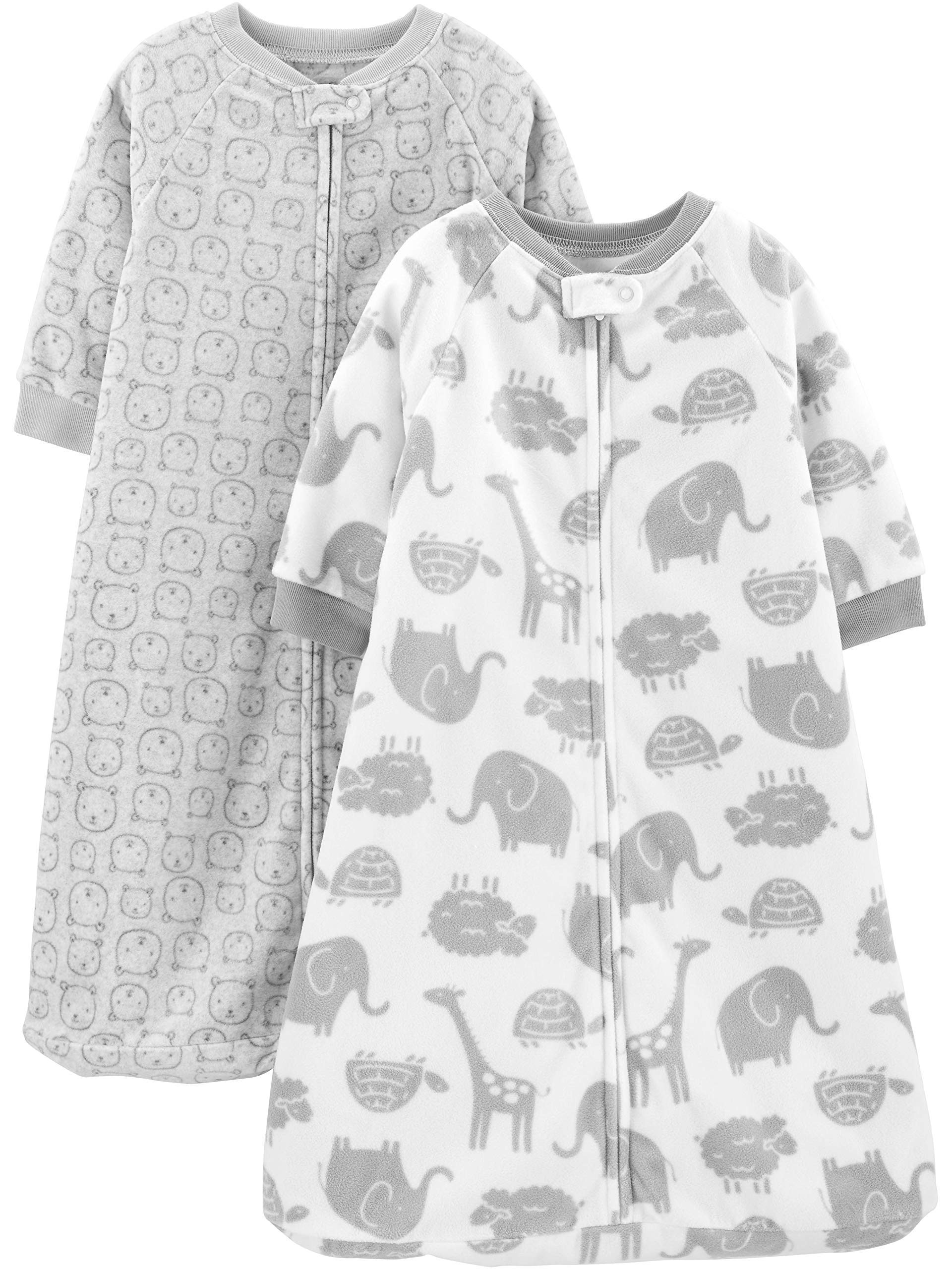 Simple Joys by Carter's Baby 2-Pack Microfleece or 3-Pack Cotton Sleepbag, Heather Grey Animals, Medium: 6-9 Months, 12.5-21 lbs by Simple Joys by Carter's