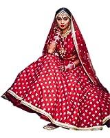 ShreeBalaji Creation Women Georgette Lehenga Choli(Red White Leh_Red_Free Size)