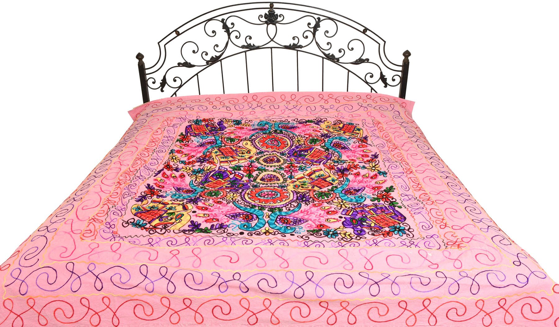 Bedspread from Gujarat with Embroidered Animals - Pure Cotton - Color Prism Pink Color by Exotic India (Image #1)