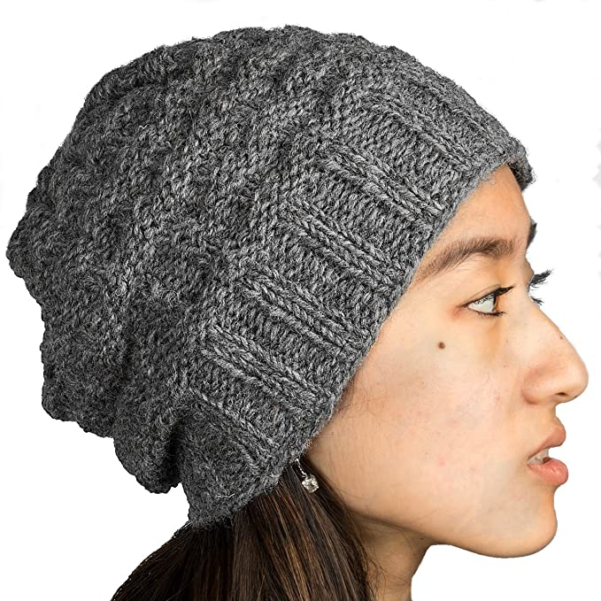e50e09dbc25 Tribe Azure Fair Trade 100% Wool Warm Winter Hat Fleece Lining Women Beanie  Pom Pom