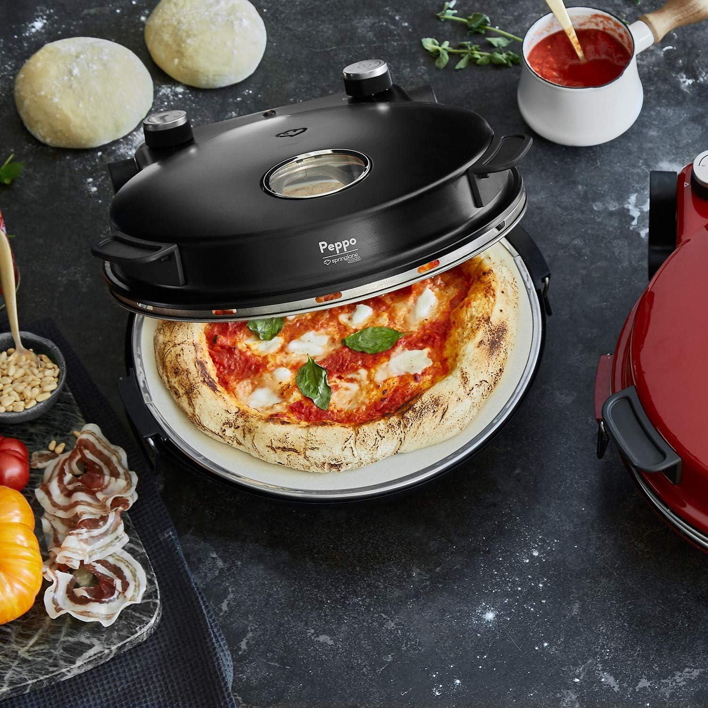 Horno para Pizzas Peppo, Máquina para preparar pizzas como al horno de piedra a 350 °C, temporizador e indicador luminoso, incluye 2 volteadores ...