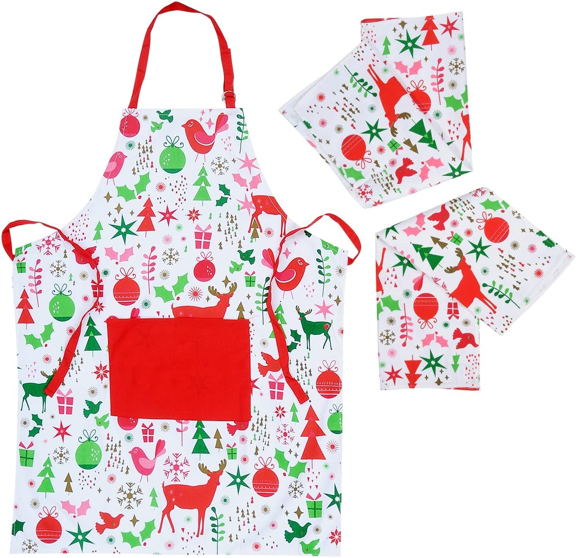 Christmas Cooking Apron with 2 Pack Tea Towels - Kitchen Apron for Men and Women with Pockets  Adjustable Neck Strap - Long Ties  Perfect BBQ Baked Grilling Apron