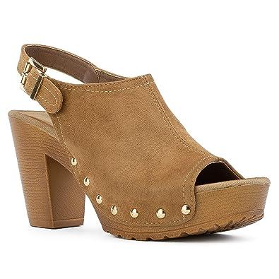 2f062aaf91e RF ROOM OF FASHION Women s Peep Toe Platform Chunky Heel Mule Sandals Camel  Size.5.5